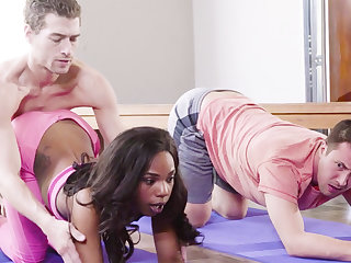 Yoga Bus Fucked Ebony Latitudinarian in Threesome
