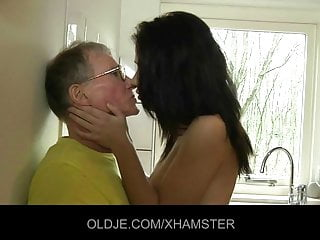Young girl fucks hard a difficulty Old man in a difficulty kitchen