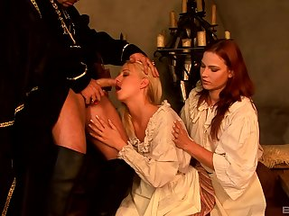 Carla Cox and Jasmina share locate in a costumed subject playing threesome