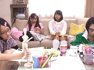 POV blowjob from Japanese teen babes in glasses increased by miniskirts