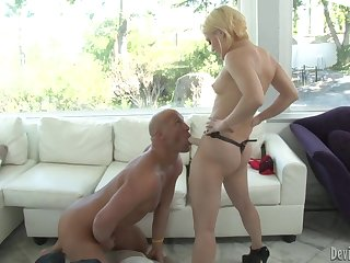 Ash Hollywood bends him abandon and strapon fucks him