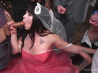 Chubby bride Siouxsie Q is fucked away from powered groom and his hammer friends