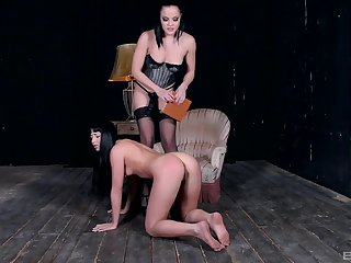 Lesbian femdom session with a strapon mistress anal pang their way slave