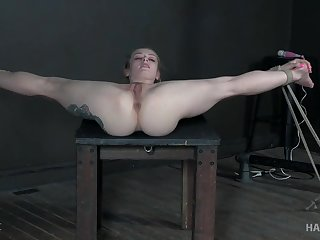 Flexi unshaded pussy fucked with toys in incredible BDSM