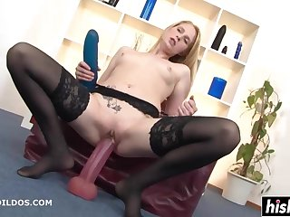 Auriferous In Stockings Plays With Big Toys - high definition