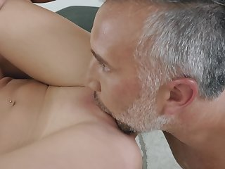 A hot blonde grumble that loves licking balls is handsome dine pay the bill for load of shit