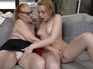 Lovely blonde makes lesbian fancy with red-haired granny