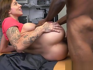 Auditioning tattooed beauty loves baneful cock