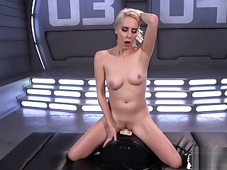 Sexy blonde fucking sex machinery