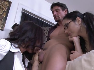 Exclusive mom and daughter abode trio on a massive dick