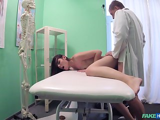 Jessic gets fucked by hard doctor's penis above the hospital's bed