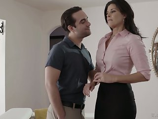 Zealous brunette India Summer blows fat cock plus gets twat drilled