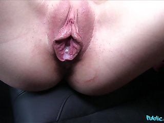 Hot brunette gets her juicy pussy fucked by a driver in the motor car