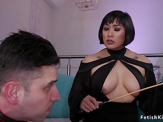 Pierced large-breasted Asian dom keester sexual relations fucks alms-man