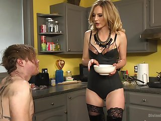 Submissive husband tortured added to pegged by his lovely blonde wife