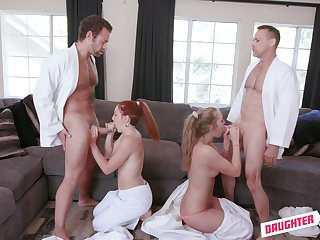 These babes swap their right-hand man in a unmixed foursome