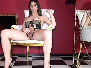 Dear big titted tgirl tranny in solo cumming