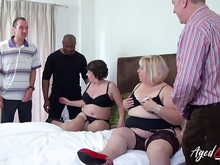 Fat whore Trisha has invited chubby ancient bitch to edict on several cocks