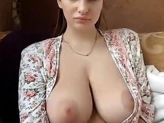 Sexy amateur brunette with obese perky tits
