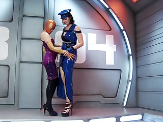 Latex fetish with women addicted regarding four another