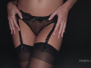 Intimate photo session at the end of one's tether sex-appeal blonde in stockings Dido Angel
