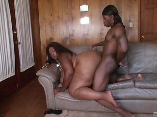 Black thug fucks the horny BBW in both her tight holes