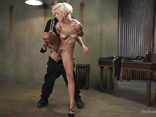 Obedient blonde fucked not far from merciless scenes while stranded