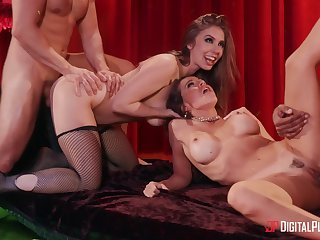 Abigail Mac and her drained friend Lena Paul fucked by duo dudes