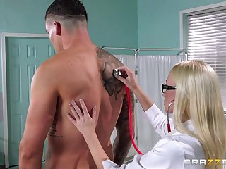 Blonde meticulousness Madison Scott helps the brush patient empty his boloney