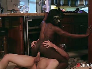 Swank ebony chick Ana Foxxx fucked away from a white panhandler in the kitchen