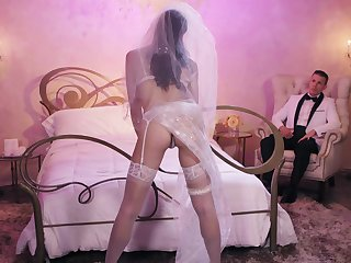 A newly matrimonial clip spend their first night fucking - Avi Love