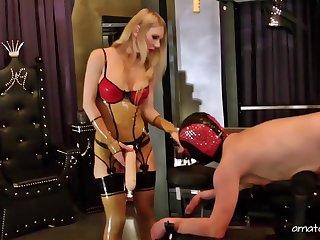 Aberrant guy enjoys hard sex added to spanking by pretty Lady Estelle