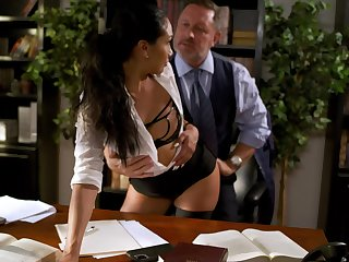 Wondrous brunette Vicki Chase flashes pubic maddened while riding cock