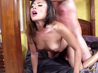 Asian wife Kaylani Lei plays in the matter of her pussy and gets drilled