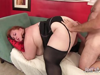 Hairy redheaded BBW Julie Ann More presents her fat ass