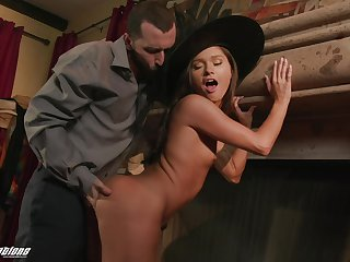 Hot witch fucks a man on Halloween and their way chubby ass submissively looks good on their way