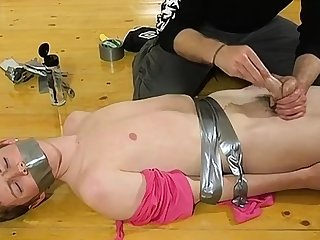 Unconforming joyous twink bondage dusting tube The skimpy man gets his