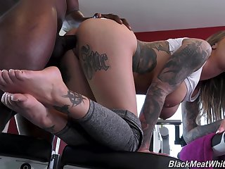 Black jock fucks anal cleft with an increment of pussy of busty PAWG Karma Rx