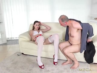 Hot light-complexioned in white lingerie and red shoes in the matter of on one's high horse heels is fucking an elderly man