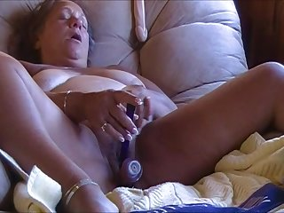 Horny fat granny masturbating with toys on cam