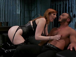 Hogtied dutiful dude is brutally banged with strapon by Lauren Phillips