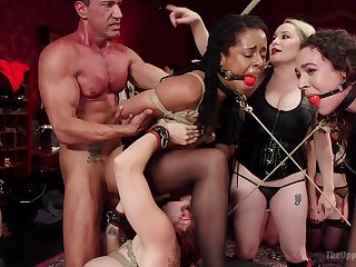 BDSM rough fucking helter-skelter Aiden Starr and Mona Wales tied up