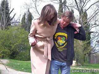 Hot nuisance brunette Eliza Thorne gives head before having nice sex