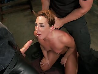 Slave trainee is fucked together with whipped