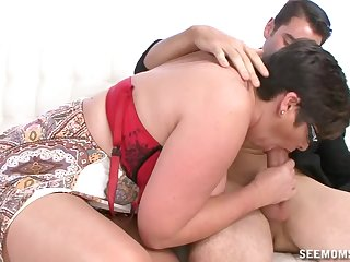 Auntie sucks the dick so splendid that the young lad cums beyond everything her tits