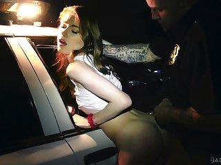 Dirty taxi drive brutally fucks soaking pussy of naughty Hannah Hays