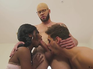 Hot and X black beauty Daizy Cooper is fucked by bisexual dudes doggy