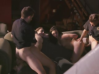 Bitches try a naughty foursome with two cops with fat dicks