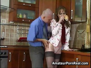 Sexy Russian Mature Fucks Young Guy Nearly Kitchen