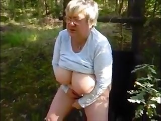 Breasted granny with glasses masturbating in be passed on forest